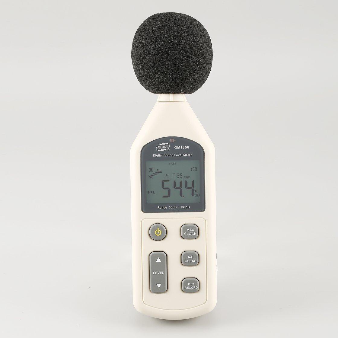 BENETECH GM1356 30-130dB A/C Digital Sound Level Meter Noise Volume Tester Fast/Slow dB Decibels Detector with Backlight USB