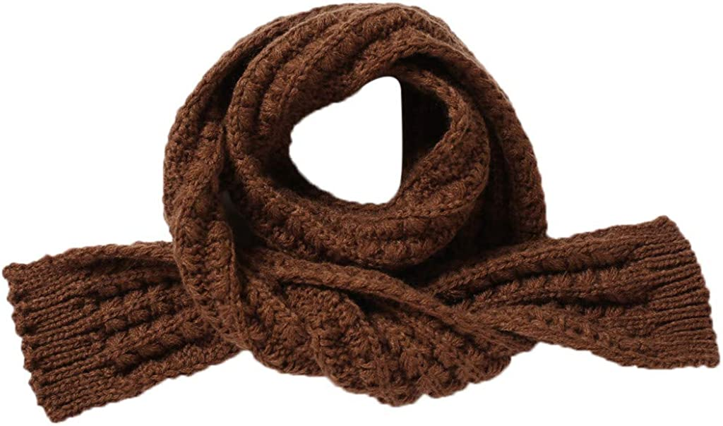 Fashion Autumn Winter Warm Solid Wool Knit Scarf Cute Cozy Soft Neckerchief Snood Shawl for Newborn Toddler Infant Baby Kids Hefine Children Boys Girls Scarf