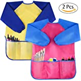Pack of 2 Kids Art Smocks, Children Waterproof Artist Painting Aprons Long Sleeve with 3 Pockets for Age 2-6 Years by Bassion