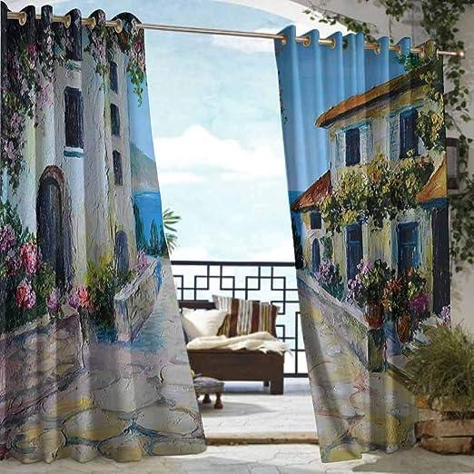 DILITECK - Cortina para pérgola, diseño rústico de Ramo de Flores en Acuarelas, Gerbera, Narciso, Amapola, Margarita, impresión artística para Patio/Porche Frontal: Amazon.es: Jardín