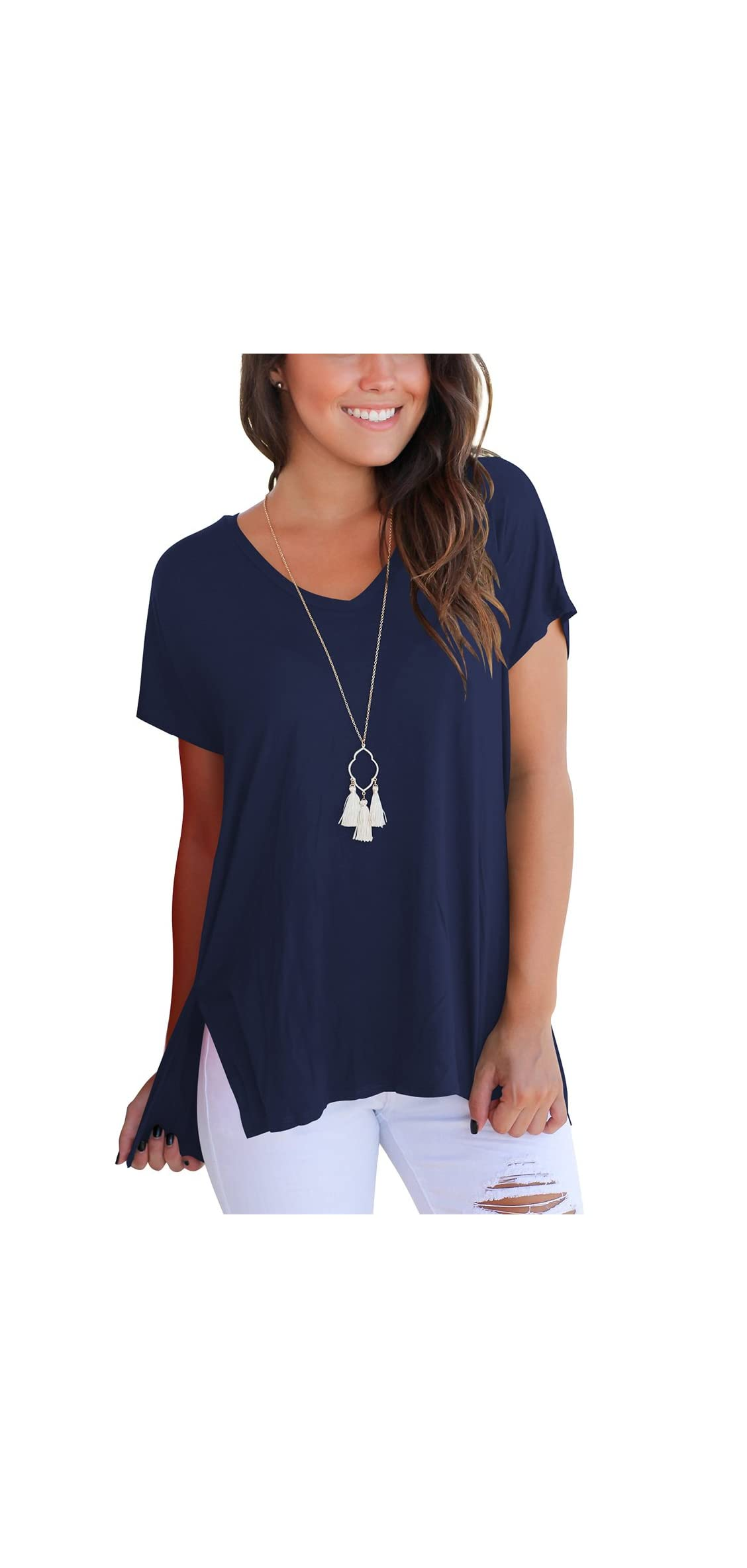 Women's Short Sleeve High Low Loose T Shirt Basic Tee