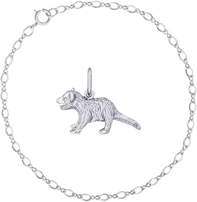 Rembrandt Sterling Silver Tiger Charm on a Sterling Silver Rope Chain Necklace