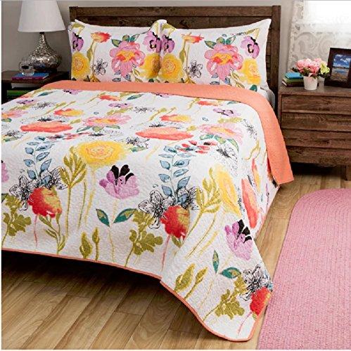 2 Piece Girls Multi Watercolor Floral Theme Quilt Twin Set, (Floral Watercolor Quilt)