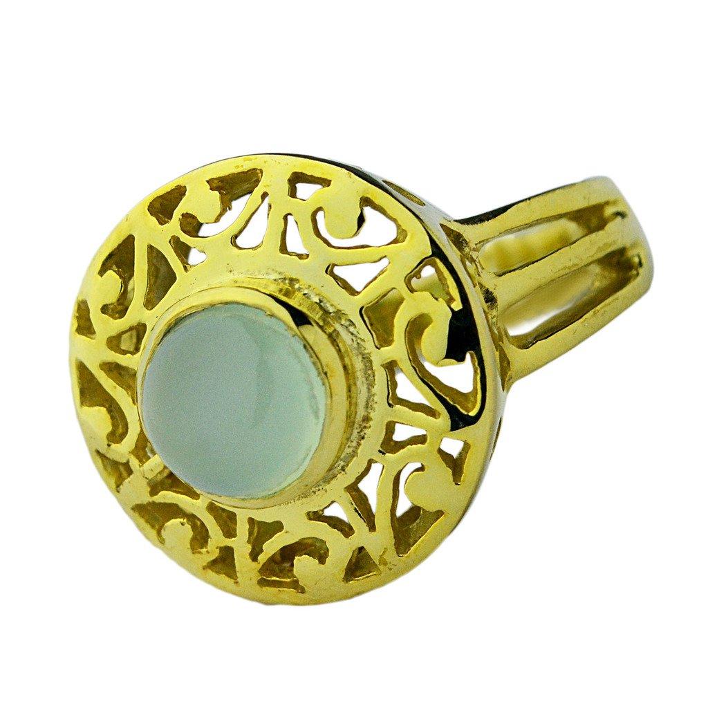 Crystalcraftindia Chalcedony gemstone Brass Gold Plated Ring Size 8 US 7.60 g
