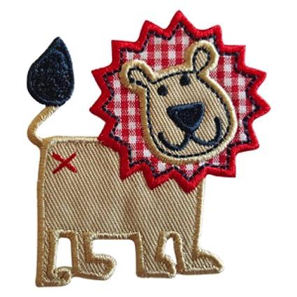 2 Parche de bordado o planchado León 6X7Cm Manzana 6X8Cm termoadhesivos bordados aplique para ropa con
