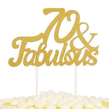 Amazoncom PALASASA Gold Glitter 70 Fabulous Cake Topper Wedding