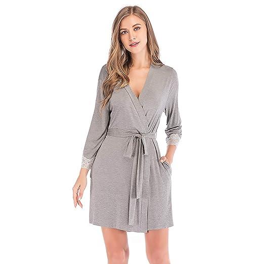 W&TT Mujeres Kimono Batas algodón Ligero Bata Larga Albornoz Suave Ropa de Dormir V-Cuello señoras Loungewear S-XXL,Gray,S: Amazon.es: Hogar