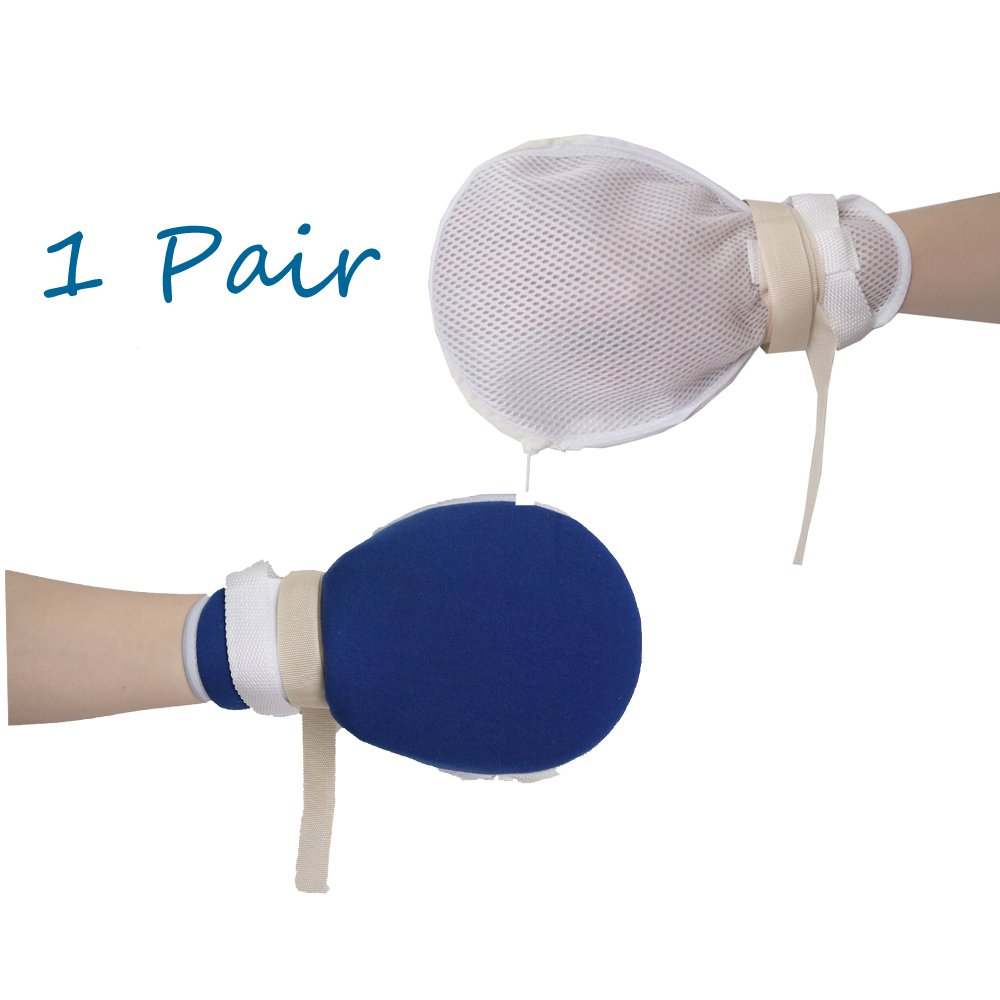 1 Pair Ultimate Hand Protector Padded Mitts to Support Medical Treatments and Prevent Self Harm with Hook and Loop Closure and No Finger Separators