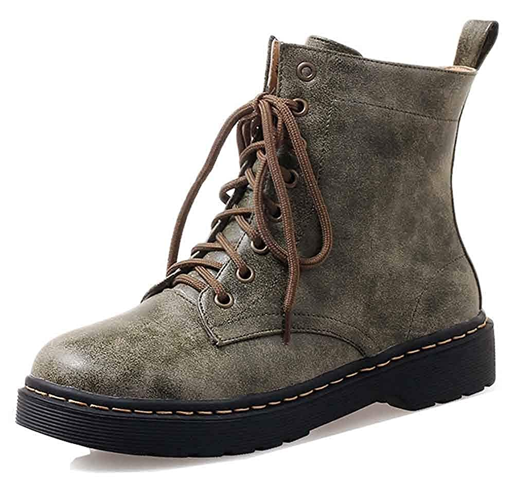 Lace Up Combat Booties Casual Comfort High Top Unm Womens Round Toe Flat Ankle Boots