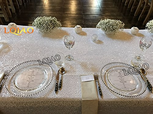 Best Wholesale 10pcs 90x132inch Rectangle Sequin Tablecloth, White Sequin Tablecloth Shimmer Sequin Fabric,Table Linen Wedding/Party/Evening Dress Decoration by LQIAO