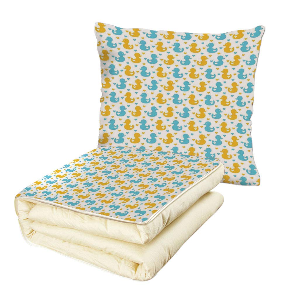 iPrint Quilt Dual-Use Pillow Rubber Duck Baby Ducklings Pattern with Little Hearts Love Animals Print Nursery Room Multifunctional Air-Conditioning Quilt Blue and Yellow