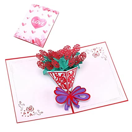 Amazon Com Shaoge Love Rose Flower Greeting Cards Handmade Birthday