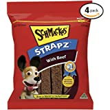 SCHMACKOS STRAPZ Beef Flavour Dog Treats 2kg Value Pack, (4 x 500g Bags)