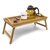 Relaxdays 10012858  Plateau de lit pliable en bambou table d'appoint pliante avec 2 poignées HxlxP: 21,5 x 47 x 27 cm tablette pour le petit-déjeuner en bois de bambou table de genoux canapé sofa, nature
