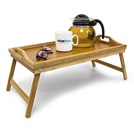 Relaxdays Bamboo Wooden Breakfast In Bed Tray, 21.5 X 47 X 27 Cm, Serving
