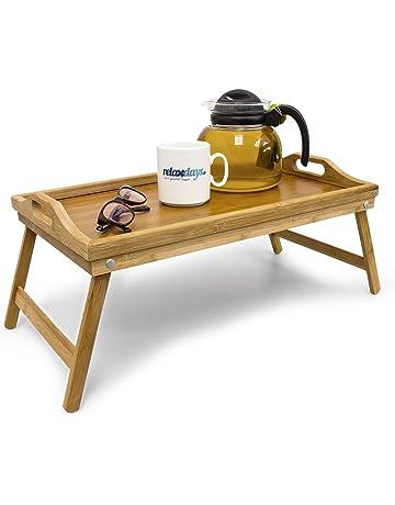 Relaxdays 10012858 Bandeja para Cama de bambú, mesita con Patas Plegables, Natural, 50x30x23