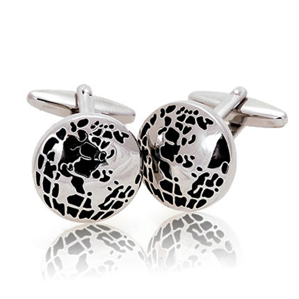 Men's Cufflinks World Globe Beautiful Earth Black and Silver Tone Round Cufflinks