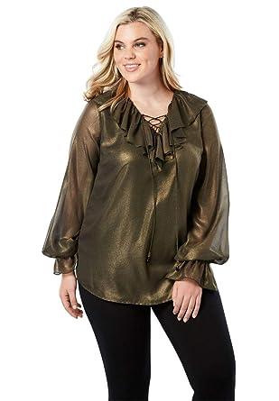 2a42ecc05b596 Roamans Women s Plus Size Ruffle Lace-Up Top at Amazon Women s ...