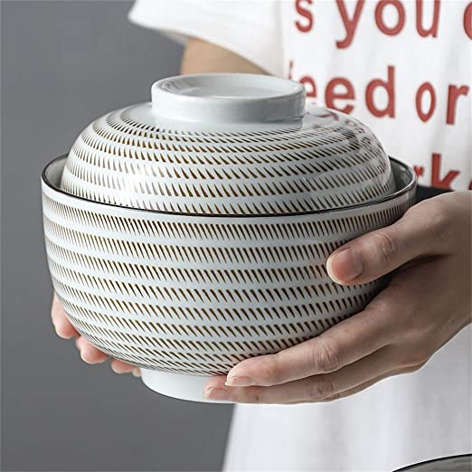 Tazón de sopa de cerámica con tapa y asa Tazón de fideos ...