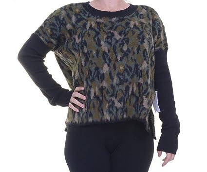 RACHEL Rachel Roy Women s Army Combo Animal-Print Combo Crew Neck Sweater  (Large) 8beaa22992