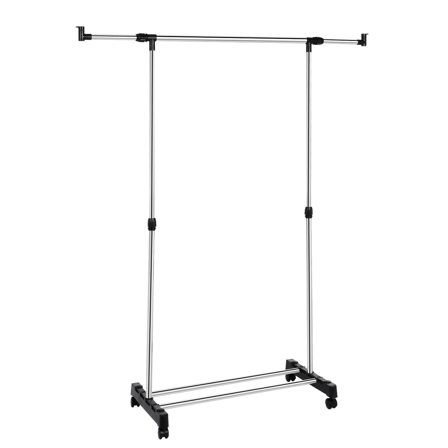 evokem Portable Rolling Clothes Garment Rack with Wheels Height Adjustable Hanging Clothes Rack Organizer