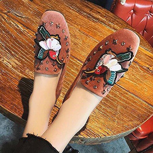 Las Mujeres Pisos De Cuero De Gamuza Ocio Bordado Suaves Bailarinas Ligeras Comodidad Conducción Zapatos Marrón