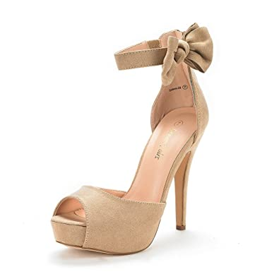 8fd9cd50a56 DREAM PAIRS Women s SWAN-08 Nude Ankle Strap Heel Pump Shoes Sandals Size 5  M