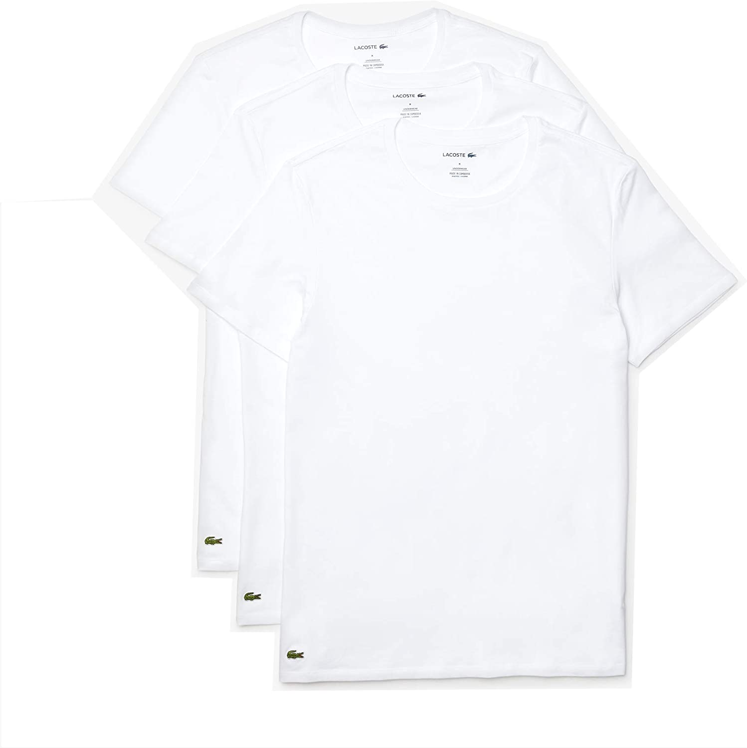 Lacoste Mens Essentials 3 Pack 100/% Cotton Regular Fit Crew Neck T-Shirts Base Layer Top