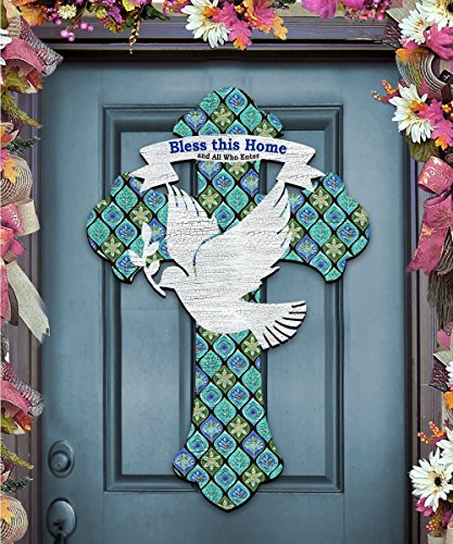 Bless This Home Easter Cross with Dove, Wooden Décor, Wall Art Accent by G.DeBrekht 8191163H