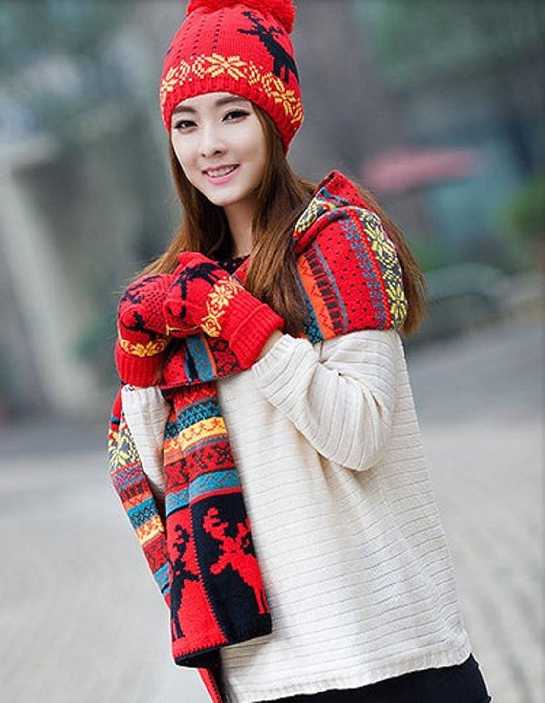 3646dec502a134 Amazon | 桜の雪 帽子・マフラー・手袋 3点セット プレゼント おしゃれ 全3色 (レッド) | 手袋 通販