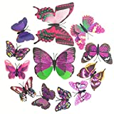 Butterfly Wall Decor 3D Sticker Room Decal by BECOR - Double Wing, 48pcs, Violet