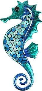 HONGLAND Metal Seahorse Wall Decor Blue Mosaic Glass Art Sculpture Hanging Ocean Decorations for Home, Garden, Bedroom, Indoor, Outdoor