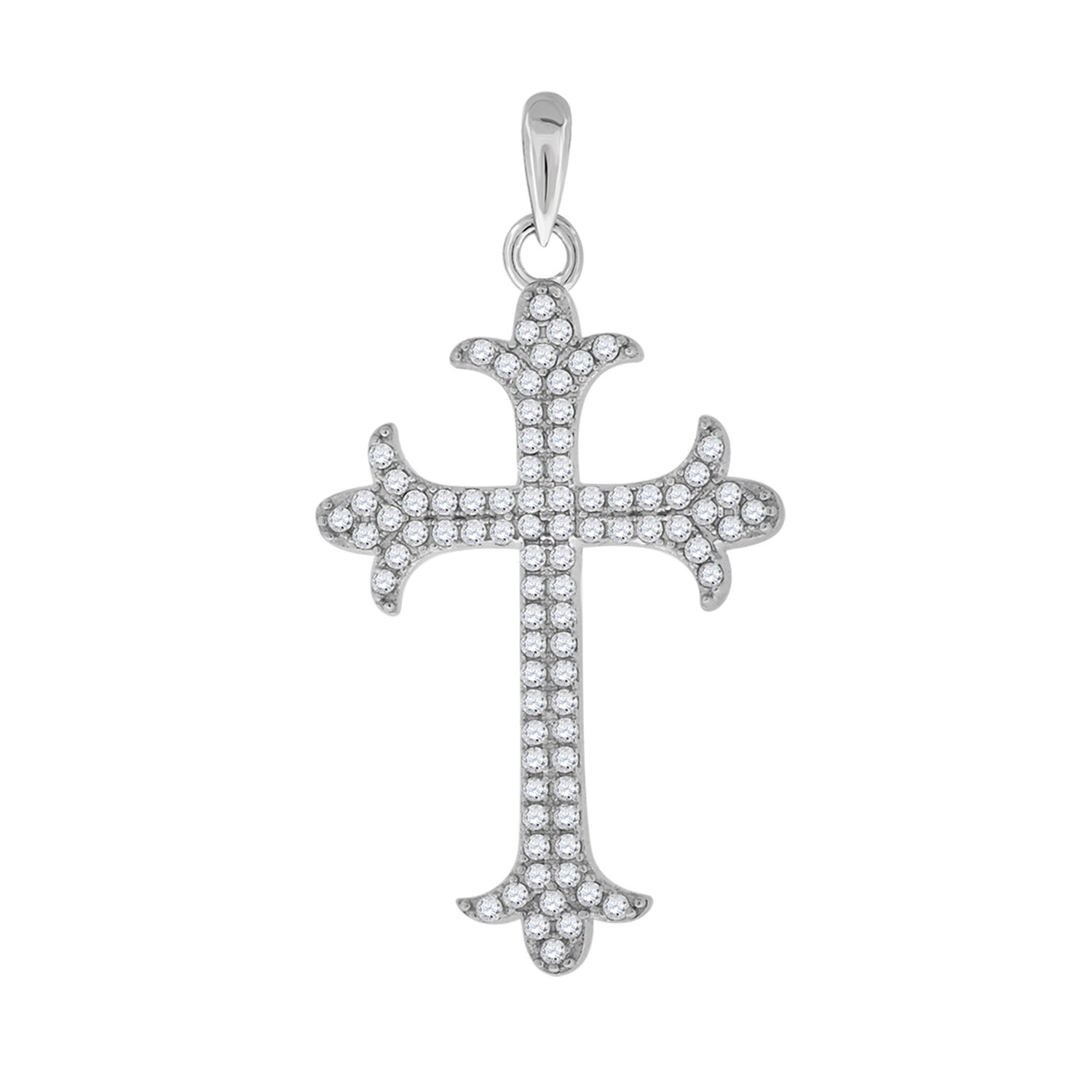 Saris and Things 925 Sterling Silver Womens Mens Unisex Round Cubic Zirconia CZ Cross Religious Fashion Charm Pendant