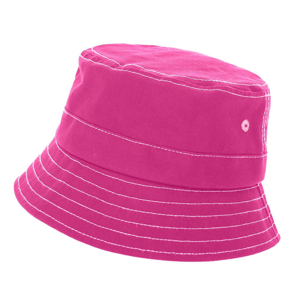 Opromo Bucket Hat for Boys and Girls Soft Sun Protection Hat, Toddler to Youth, 21.25 inches-Hot Pink-24 Hats