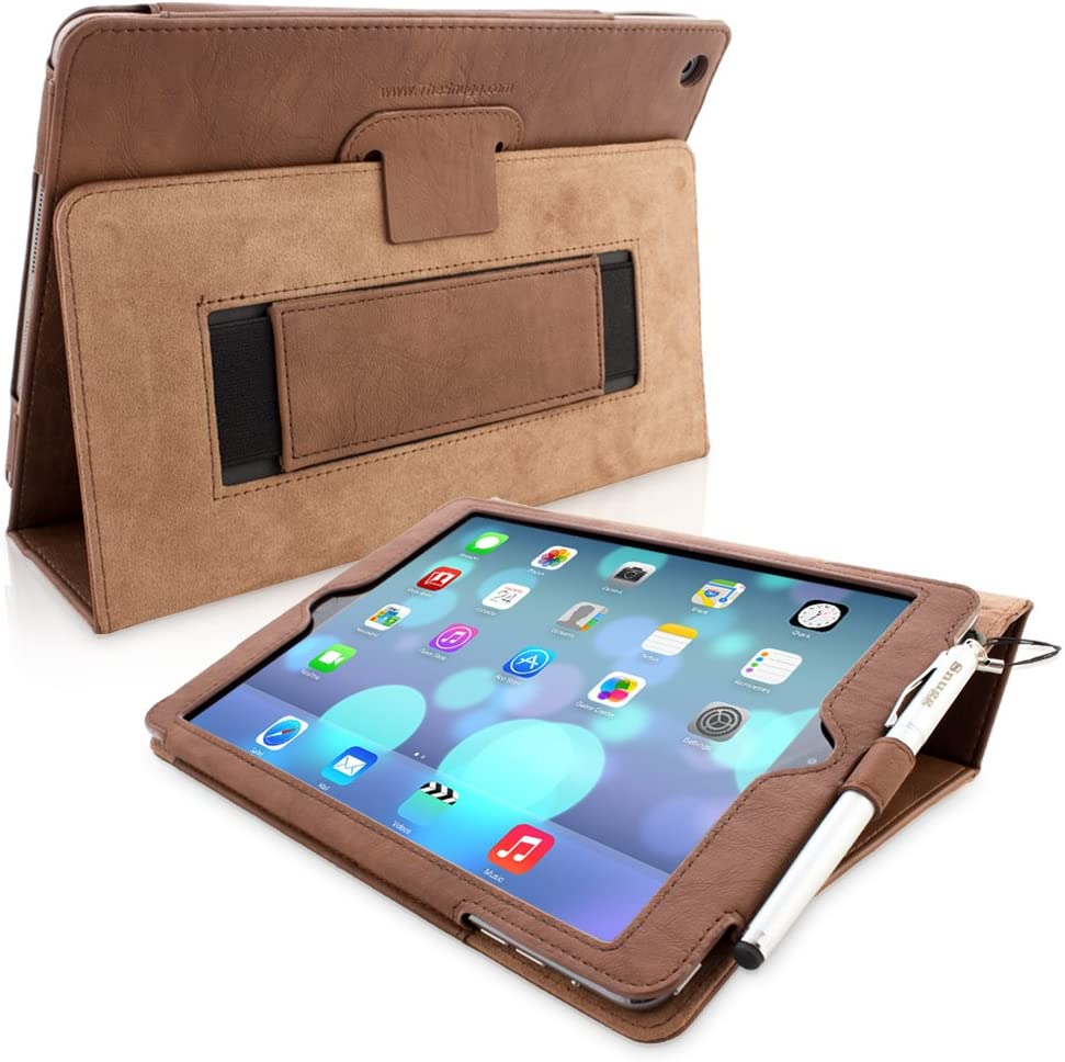"""Snugg iPad 9.7 (2018/2017) & iPad Air Case, Dusty Cedar Red Leather Smart Case Cover Apple iPad Air and New iPad 2017 9.7"""" Protective Flip Stand Cover with Auto Wake/Sleep"""