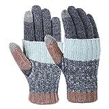 Vbiger Women Winter Gloves Warm Long Knit Gloves Fashionable Outdoor Windproof Full-finger Mittens (Dark Grey)