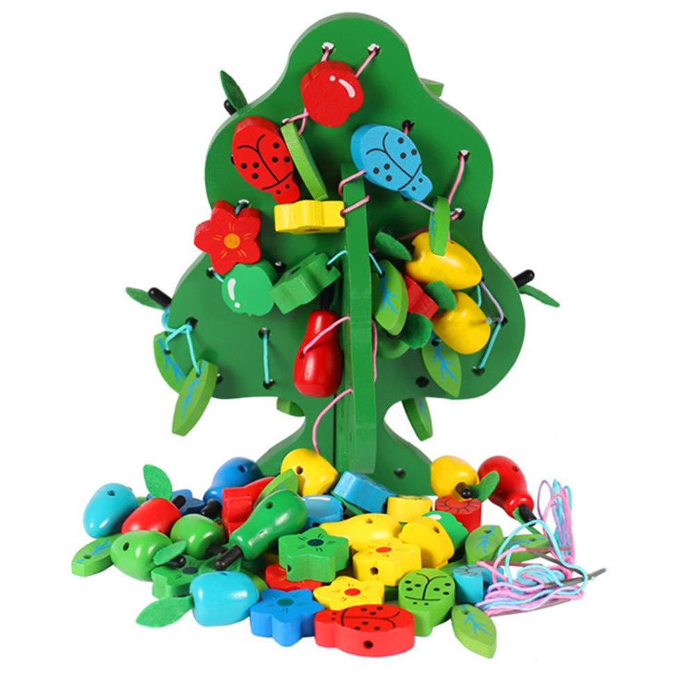 Chemstar ストリングビーズおもちゃ 木製フルーツツツツツツリー DIY 木製玩具 新年/クリスマス/誕生日のギフト 子供のお気に入り 幼児のおもちゃ 教育&学習用   B07HMKN7L5