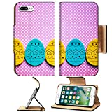 Luxlady Premium Apple iPhone 7 Plus Flip Pu Leather Wallet Case iPhone 7 Plus 25925909 Row of decorated felt easter eggs yellow and blue on a pinky polka dots background