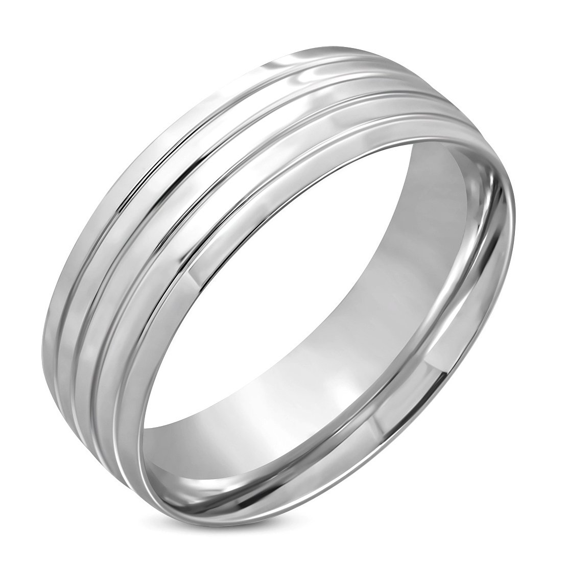 Stainless Steel Grooved Striped Comfort Fit Half-Round Wedding Band Ring