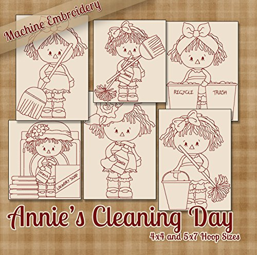 Annie's Cleans House Redwork Raggedy Ann Embroidery Machine Designs on CD - Multiformat