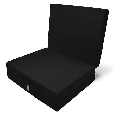 Beautissu Cómodo colchón Plegable Campix Auxiliar futón 60 x 190 x 7 cm Ahorra Espacio Tela Microfibra Negro