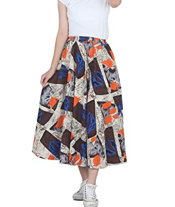 5ea6bcf1b Femirah Women's African Floral Print Pleated High Waist Maxi Skirt Casual A  Line Skirt (Length