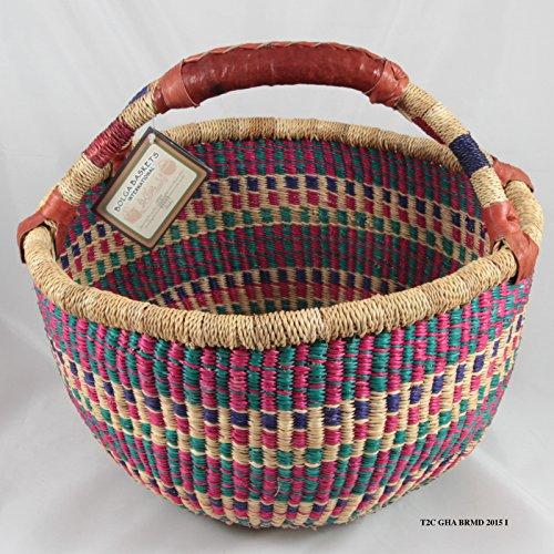 Bolga Baskets International Medium Market Basket w/ Leather Wrapped Handle (Colors Vary)