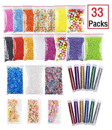 Price comparison product image EDsports 33 Pack Slime Making Kits Supplies,Fishbowl Beads,Foam Balls,Glitter Shake Jars,Fruit Flower Candy Slices Accessories,DIY Art Craft for Homemade Slime, Wedding and Party Decoration