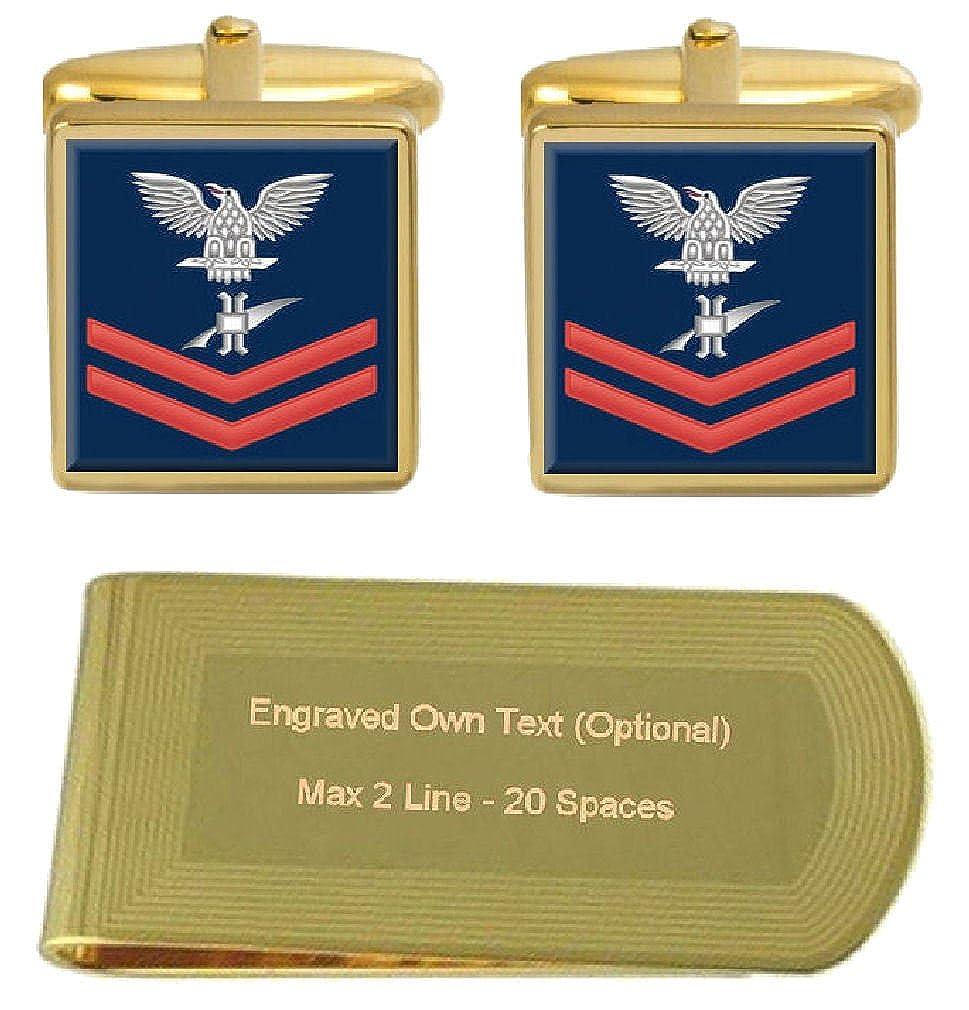 Select Gifts Cufflinks Engraved Money Clip U.S Navy Red E-5 Legalman LN