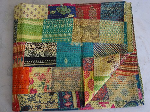 Tribal Asian Textiles Floral Patchwork Multi Bedspread, Queen Size Kantha Quilt, Reversible Floral Kantha Throw