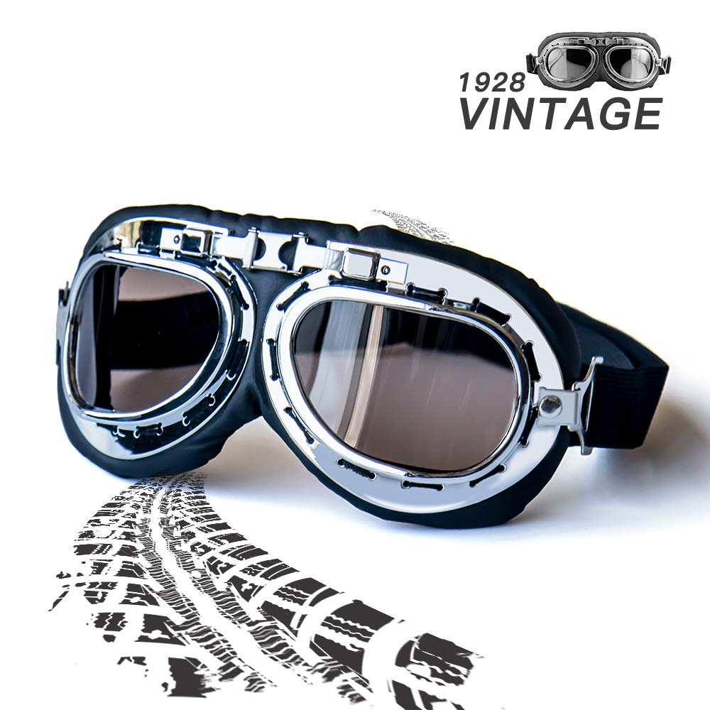 Yellow Lens Vintage Helmet Goggles,Steampunk Sunglass Eyewear Pilot Aviator Goggles Suitable for Fancy Dress Harley Motocross Racer Outdoor Sports and Skiing