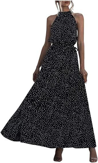 aihihe Summer Maxi Dresses for Women 2020, V Neck Halter Vintage Floral Printed Sleeveless Casual Dress