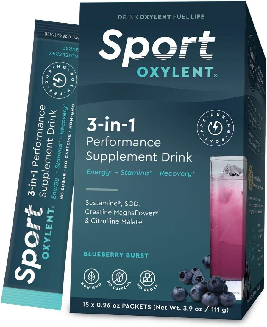 Oxylent Sport 3-in-1 Performance Supplement Drink – Sugar-Free, Effervescent, Easy Absorption of Vitamins, Creatine Minerals, Natural Energy, Supports Stamina, Blueberry Burst Flavor, 15 Count