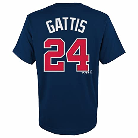 fab48e8f Evan Gattis Atlanta Braves MLB Majestic Youth's Navy Blue Player Name &  Number Jersey T-